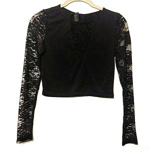 Forever 21   Black Long Sleeve Lace Crop Top